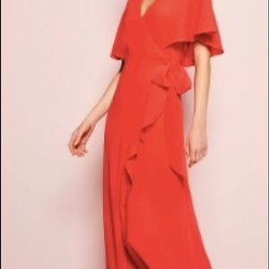 H by Halston Ruffle Wrap Maxi Dress NWOT